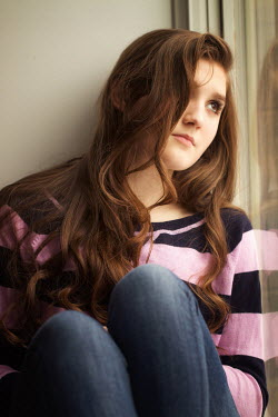 Elisabeth Ansley TEENAGE GIRL DAYDREAMING BY WINDOW Women