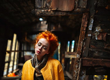Igor Burba WOMAN WITH RED HAIR IN OLD BUILDING Women