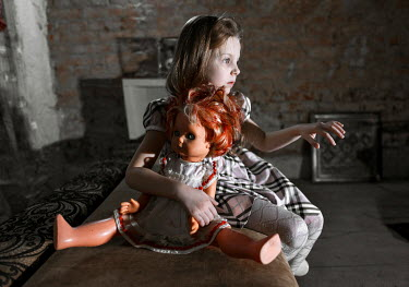 Igor Burba GIRL WITH DOLL IN OLD BUILDING Children