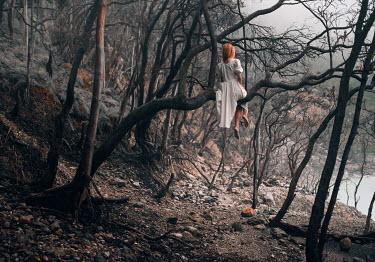 Igor Burba WOMAN WITH RED HAIR SITTING IN TREE Women