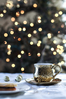 Jean Ladzinski CUP OF COFFEE BY CHRISTMAS TREE LIGHTS Miscellaneous Objects