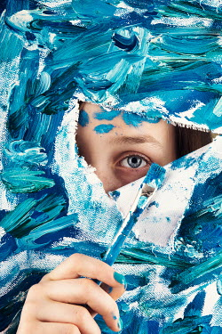 Kelly Sillaste GIRL LOOKING THROUGH TORN PAINTED CANVAS Children