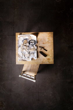 Kelly Sillaste CHILDS RIPPED DRAWING ON DESK Miscellaneous Objects