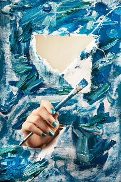 Kelly Sillaste WOMANS HAND WITH PAINTBRUSH BY CANVAS Body Detail