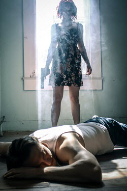 Stephen Carroll WOMAN WITH GUN BESIDE MAN LYING ON FLOOR Couples