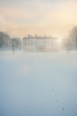 Lee Avison historic mansion house in snow at dawn Houses
