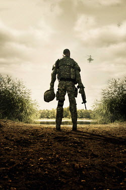 Stephen Mulcahey soldier waiting for air support helicopter Men