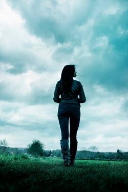 Stephen Mulcahey woman wearing leather jacket in countryside Women