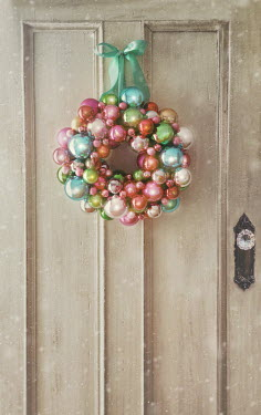 Sandra Cunningham christmas bauble wreath hanging on door Building Detail