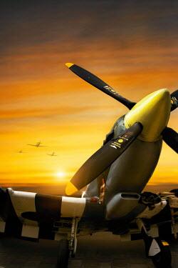 Lee Avison 1940s supermarine spitfire grounded at sunset Miscellaneous Transport