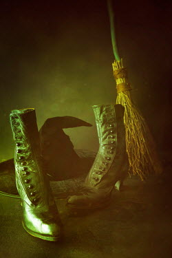 Sandra Cunningham Black boots, witches hat and broom Miscellaneous Objects