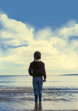 Victor Habbick LITTLE BOY PADDLING IN SEA Children