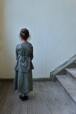 Tanya Gramatikova LITTLE BRUNETTE VINTAGE GIRL BY STAIRCASE Children