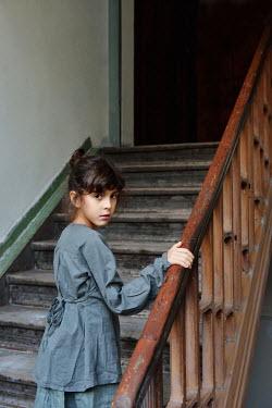 Tanya Gramatikova LITTLE BRUNETTE GIRL ON STAIRCASE Children