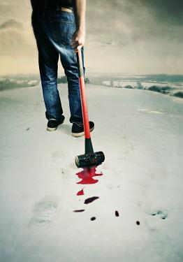 Lyn Randle MAN HOLDING BLOODY MALLET IN SNOW Men
