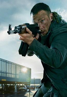 CollaborationJS special forces man aiming an AK47 gun Men