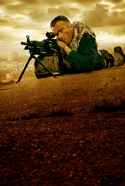 CollaborationJS special forces sniper aiming gun in city Men