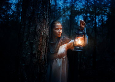 Terrence Drysdale VINTAGE WOMAN WITH LANTERN IN DARK FOREST Women