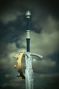 Magdalena Russocka MEDIEVAL CROWN AND SWORD UNDER GREY CLOUDS Miscellaneous Objects