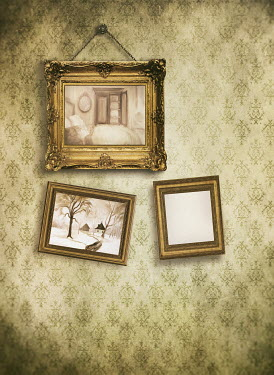 Sandra Cunningham Frames hanging on art gallery wall Interiors/Rooms
