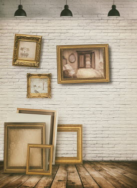Sandra Cunningham Frames hanging on gallery wall Interiors/Rooms