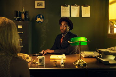 Logan Zillmer RETRO BLACK MAN IN DETECTIVE OFFICE WITH WOMAN Men