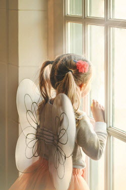 Buffy Cooper LITTLE BLONDE GIRL IN FAIRY WINGS BY WINDOW Children