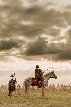 Stephen Mulcahey Roman soldier on horse with army on battlefield Groups/Crowds