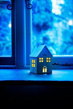 Stephen Mulcahey miniature house on window ledge at night Miscellaneous Objects