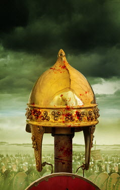 Stephen Mulcahey bloody roman helmet above army Groups/Crowds
