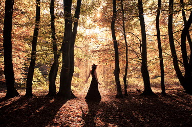 Patrick Den Drijver BRUNETTE WOMAN IN SHADOWY AUTUMN WOODS Women