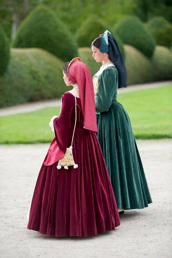 Lee Avison two tudor women walking in the garden Groups/Crowds