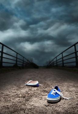 Tony Watson Abandoned blue trainers on a bridge. Miscellaneous Objects