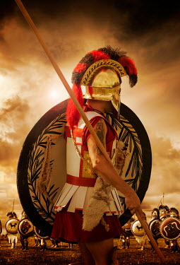 Stephen Mulcahey greek warrior preparing for battle Men