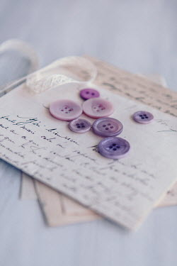 Isabelle Lafrance LIGHT PURPLE BUTTONS AND HANDWRITTEN LETTER Miscellaneous Objects
