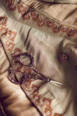 Isabelle Lafrance DECORATIVE SCISSORS ON EMBROIDERED FABRIC Miscellaneous Objects