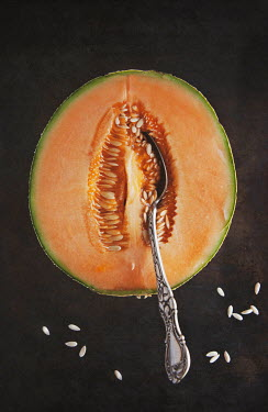 Isabelle Lafrance SPOON INSIDE HALF A MELON AND SEEDS Miscellaneous Objects