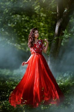 Monica Lazar WOMAN IN RED IN COUNTRYSIDE Women