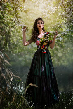 Monica Lazar WOMAN IN COUNTRYSIDE WITH BLOSSOM Women