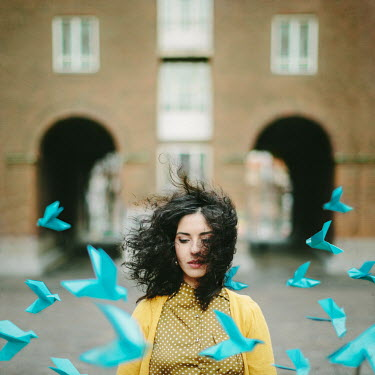 Dasha Pears YOUNG WOMAN WITH PAPER BIRDS FLYING PAST Women