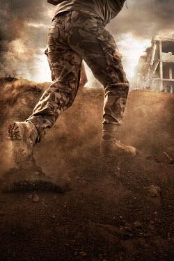 Nik Keevil SOLDIER RUNNING FROM EXPLOSION IN WAR ZONE Men