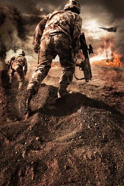 Nik Keevil TWO SOLDIERS IN FIERY WAR ZONE Groups/Crowds