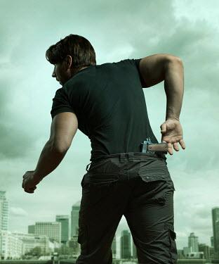 CollaborationJS modern man with gun in city Men