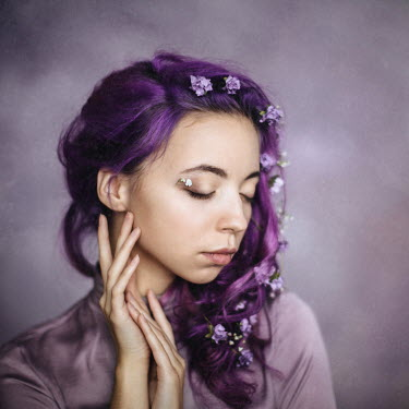 Dasha Pears YOUNG WOMAN WITH FLOWERS IN PURPLE HAIR Women