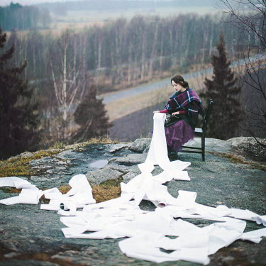 Dasha Pears YOUNG WOMAN WITH TYPEWRITER IN COUNTRYSIDE Women