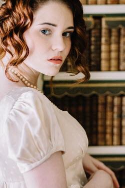 Laura Kate Bradley YOUNG REGENCY WOMAN BESIDE BOOK SHELF Women