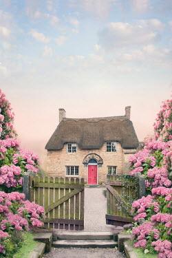 Lee Avison thatched cottage viewed through garden gate Houses