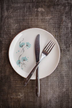 Susan O'Connor KNIFE AND FORK ON FLORAL PLATE Miscellaneous Objects