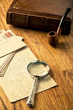 Valentino Sani PIPE, MAGNIFYING GLASS AND LETTER ON DESK Miscellaneous Objects