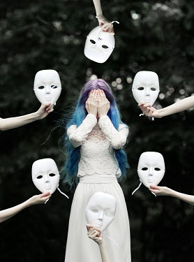 Tijana Moraca WOMAN WITH BLUE HAIR SURROUNDED BY MASKS Women